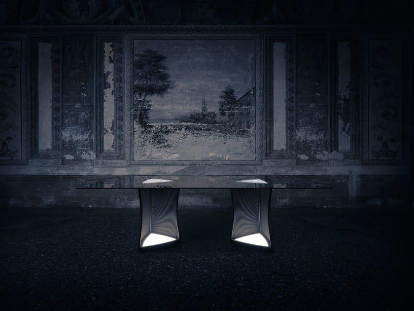Rectangular table with light WOOFER - Natevo