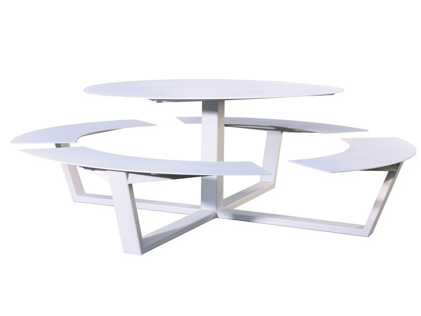 Round picnic table with integrated benches LA GRANDE RONDE - CASSECROUTE