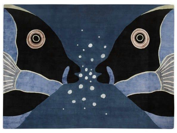 Patterned handmade rug PARROT FISH - Deirdre Dyson