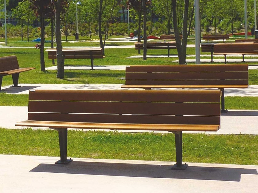 Wooden Bench with back SEDIS - Metalco