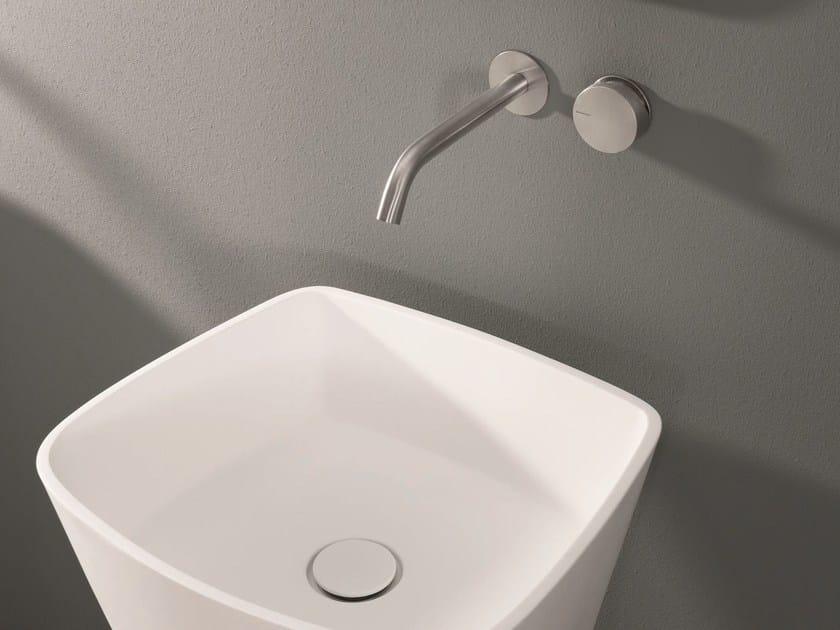 2 hole wall-mounted washbasin tap with brushed finishing OX | Wall-mounted washbasin tap - MAKRO