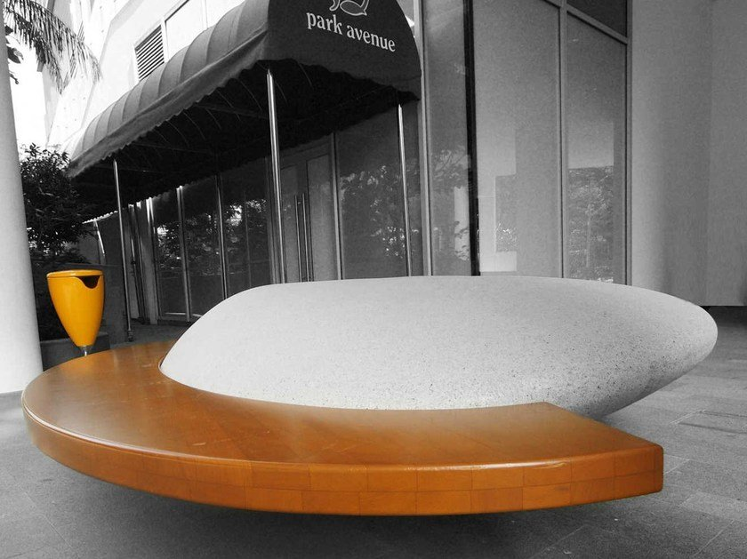 Reconstructed stone Bench MOONSTONE by Metalco