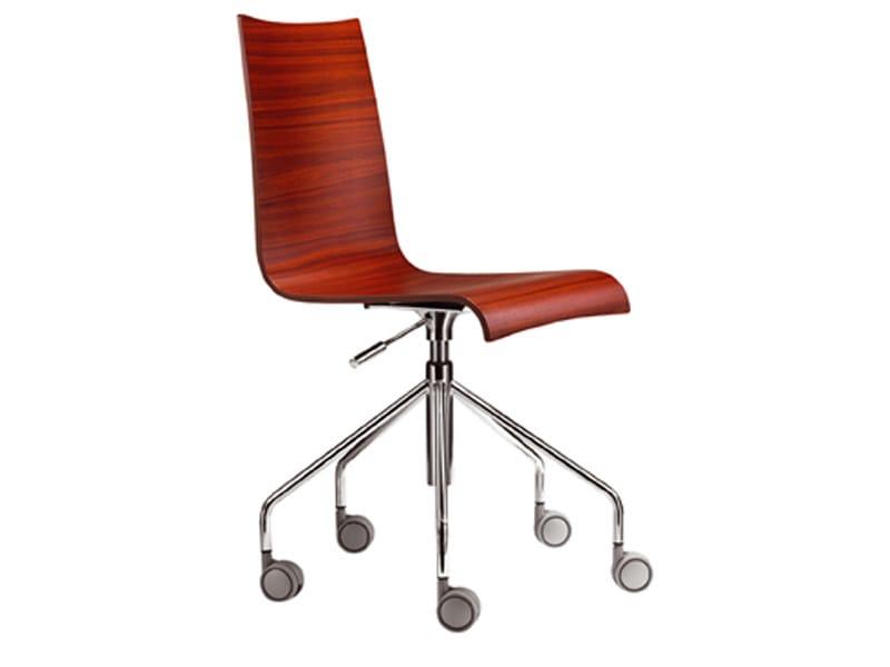Sedia ufficio operativa su trespolo in multistrato con rotelle collezione easy by parri design - Sedia con rotelle per ufficio ...