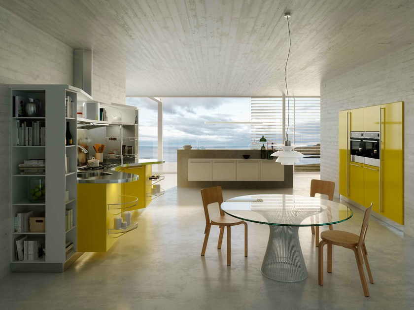 Skyline 2.0 featuring yellow lemon high-gloss lacquered doors and arctic white lacquered open units.