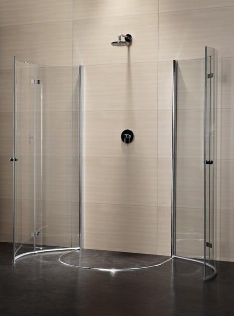 Box doccia semicircolare in cristallo con porte a battente ...