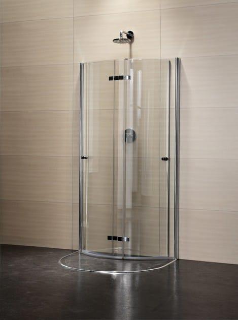 box doccia semicircolare in cristallo con porte a battente. Black Bedroom Furniture Sets. Home Design Ideas