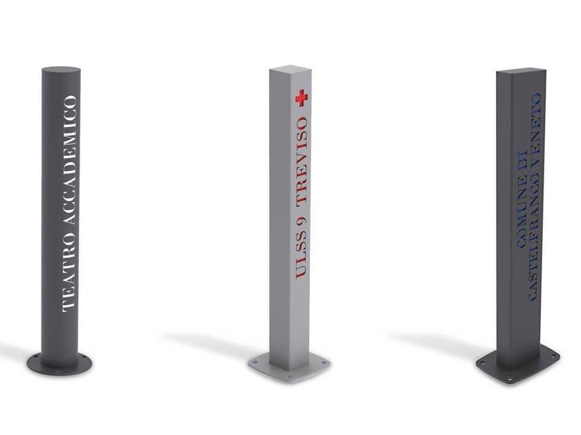 Steel bollard post with base plate DIFFUSION NEWS - Metalco