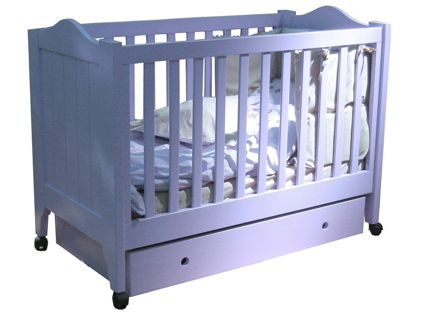 Wooden cot with casters TILLEUL | Cot with casters by Mathy by Bols