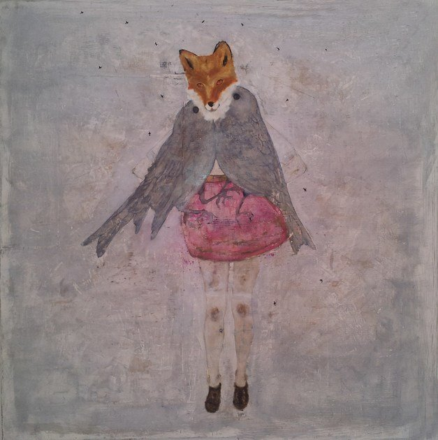 Oil & ink on canvas FOX&BIRDS - ICI ET LÀ