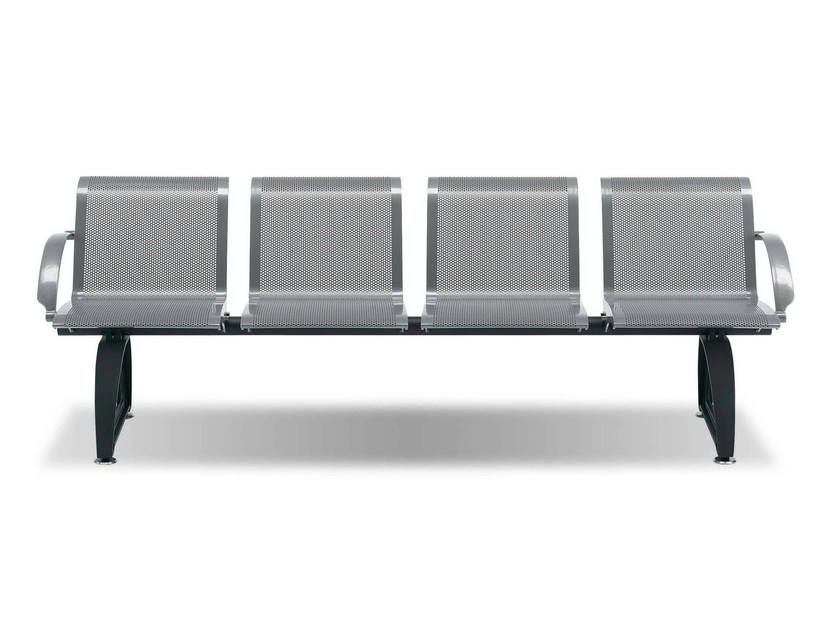 Steel Bench with armrests on Beam DOMUS - Metalco