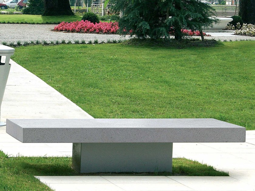 Backless reconstructed stone Bench AGATA - Metalco