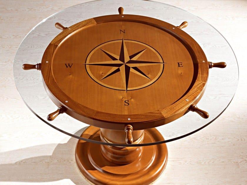Tavolo rotondo in legno massello e cristallo 1008 timone for Tavolo cristallo e legno
