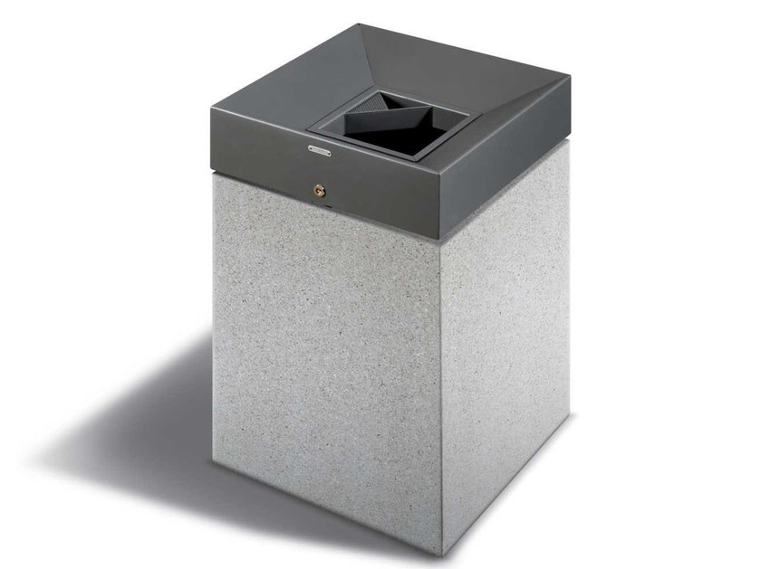 Steel waste bin with lid QUARZO - Metalco
