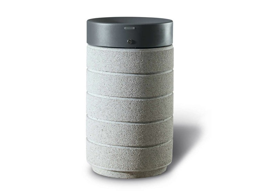 Steel waste bin with lid RUBINO - Metalco