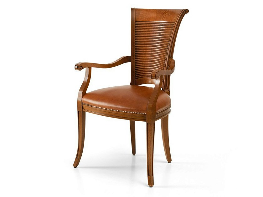 Upholstered leather chair with armrests MILLERIGHE | Chair - Caroti