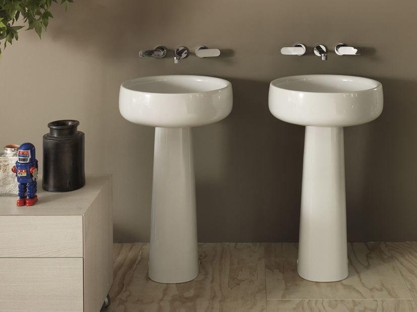Freestanding round white-paste washbasin BONOLA 50 | Freestanding washbasin - CERAMICA FLAMINIA