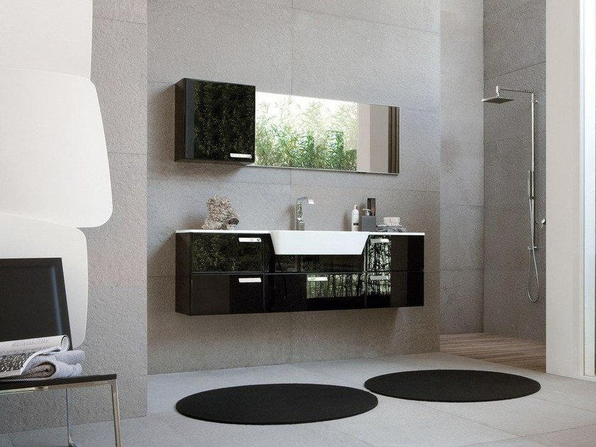 Lacquered vanity unit with drawers COMP MFE05 - IdeaGroup
