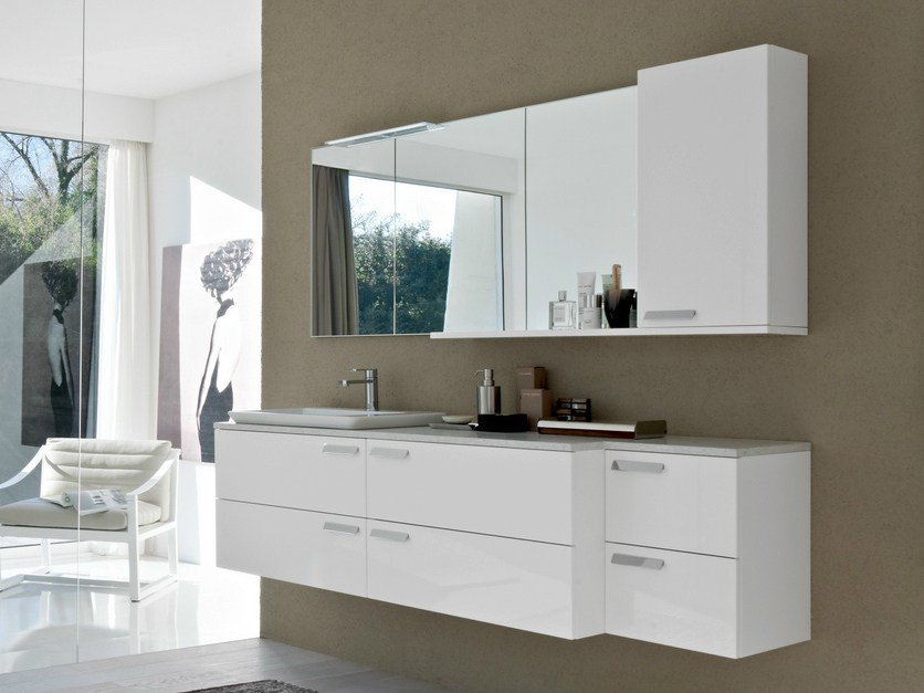 Lacquered vanity unit COMP MFE06 - IdeaGroup