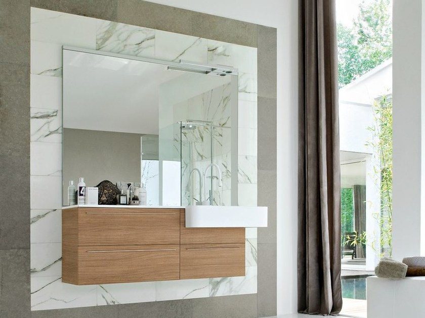 Lacquered walnut vanity unit COMP MFE09 by Idea