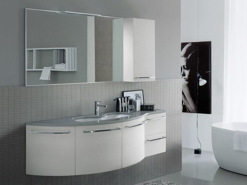Mobile lavabo laccato in mineralmarmo comp mfe08 by ideagroup - Mobile bagno fly ...