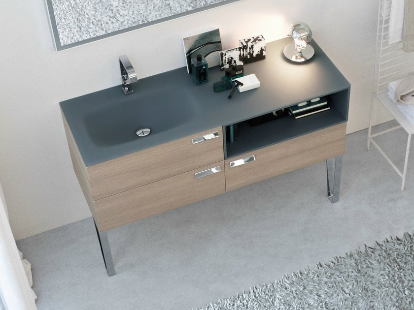 Lacquered oak vanity unit with drawers COMP MFE12 | Floor-standing vanity unit - IdeaGroup