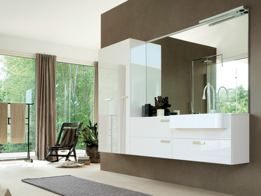 Lacquered vanity unit with cabinets COMP MFE13 - IdeaGroup