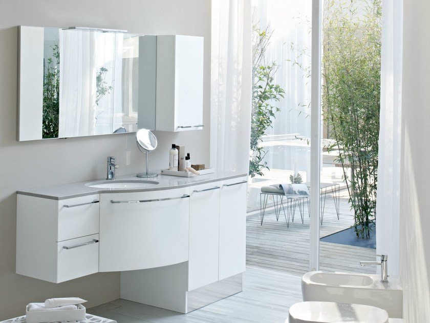 Ceramic vanity unit with doors with cabinets with drawers COMP MFE17 - IdeaGroup