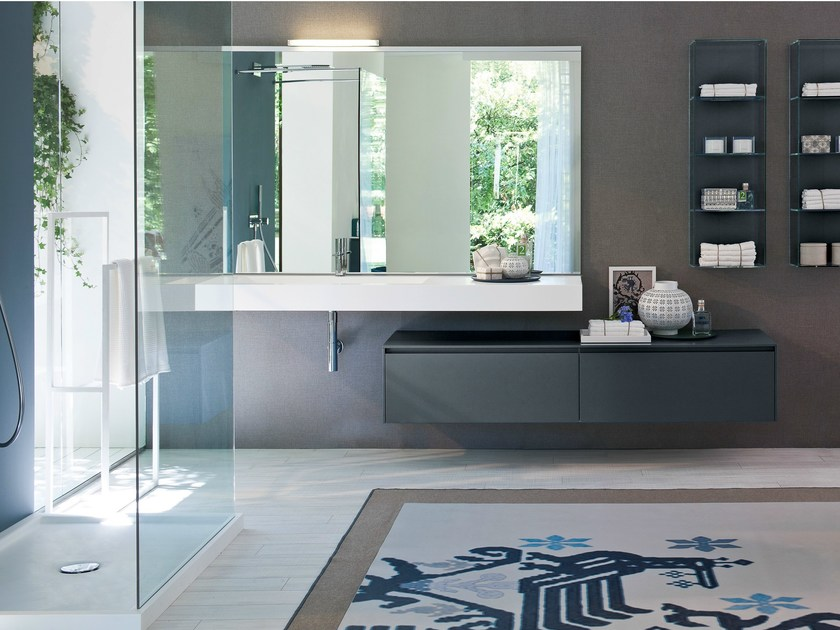 Lacquered vanity unit with drawers COMP MSP05 - IdeaGroup