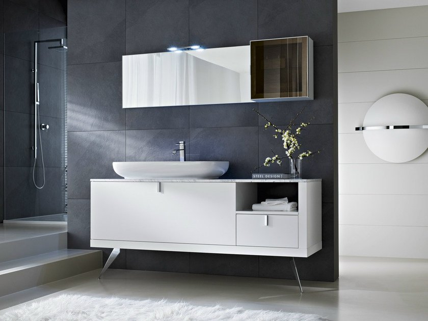 Floor-standing vanity unit with drawers with mirror COMP C02 - IdeaGroup