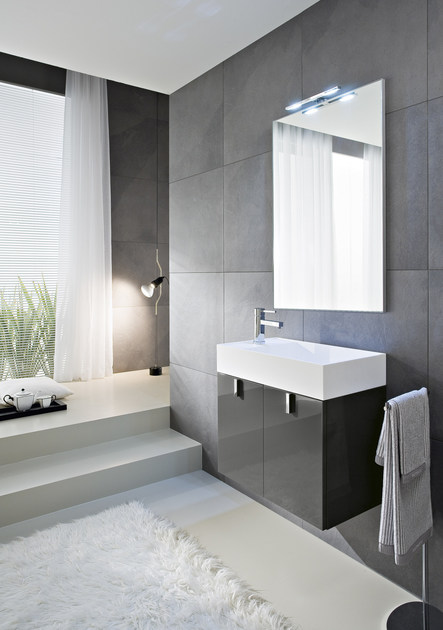 Lacquered vanity unit with mirror COMP C13 - IdeaGroup