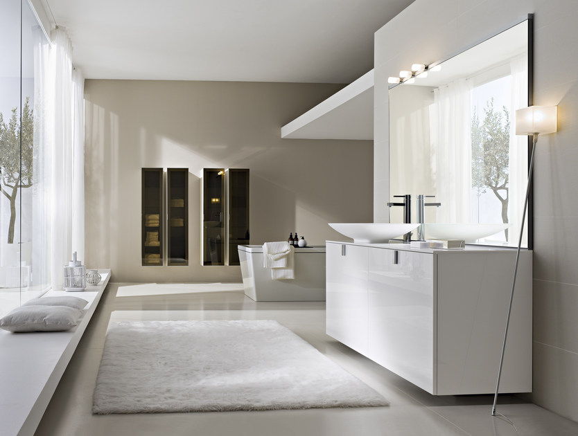 Lacquered vanity unit with doors COMP C14 - IdeaGroup