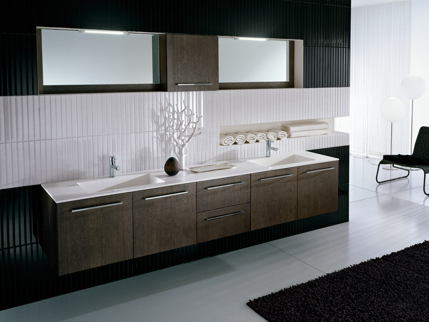 Double vanity unit with mirror COMP TE6 - IdeaGroup