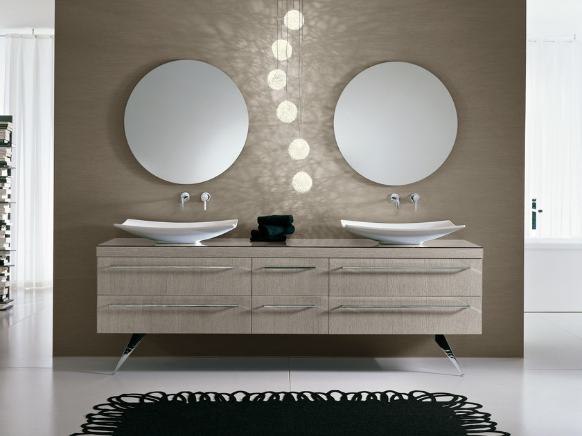 Double vanity unit with mirror COMP TE8 - IdeaGroup