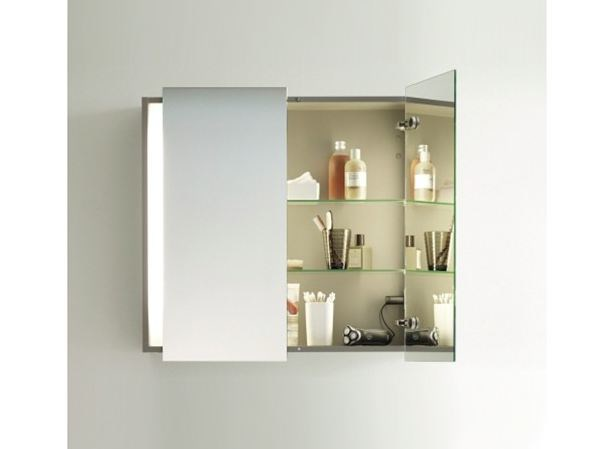 Storage bathroom cabinet with doors with mirror KETHO | Bathroom cabinet with mirror - DURAVIT