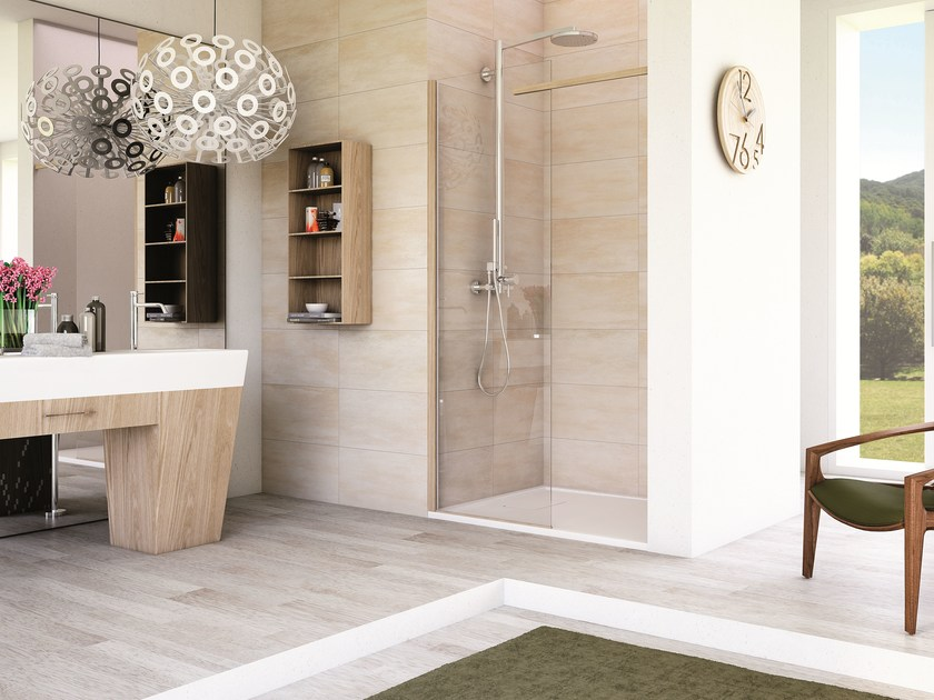 Niche rectangular glass shower cabin with tray MATERIA SN1 - MEGIUS