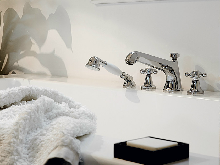 Bathtub tap with hand shower with individual rosettes AGORÀ | Bathtub tap - ZUCCHETTI