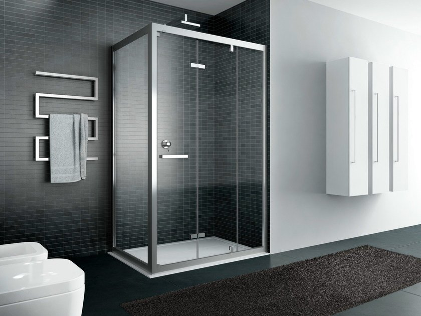 Rectangular shower cabin QUADRO | Shower cabin with folding door - IdeaGroup