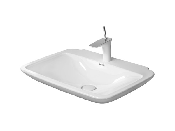 Rectangular ceramic washbasin PURAVIDA LAVABO + - DURAVIT