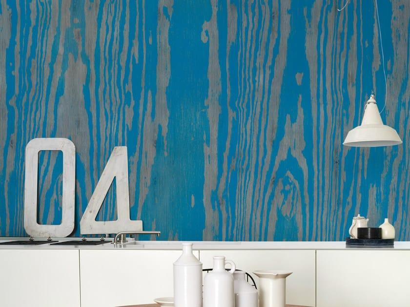 Wood effect wallpaper BLUE ESSENCE by Wall&decò