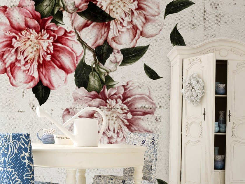 Wallpaper with floral pattern CASCADE by Wall&decò