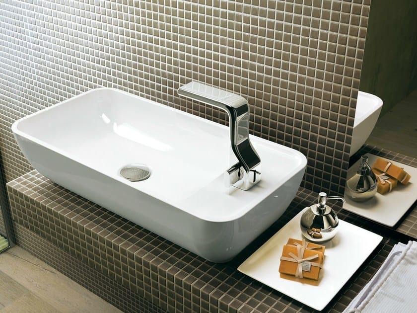 Countertop rectangular ceramic washbasin with overflow PASS 60 | Countertop washbasin by CERAMICA FLAMINIA