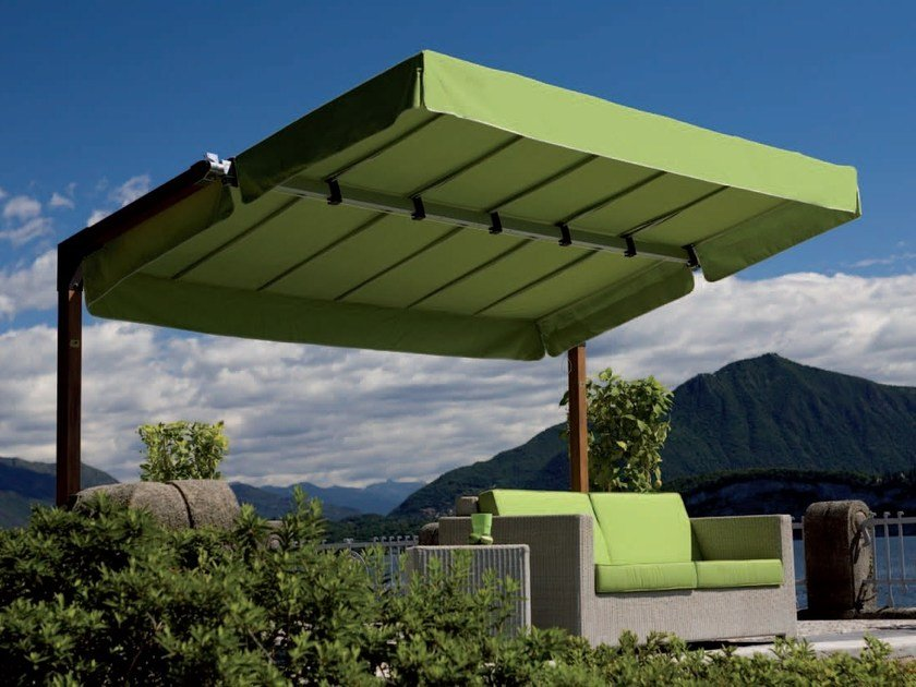 Adjustable aluminium Garden umbrella MIAMI WOOD by FIM