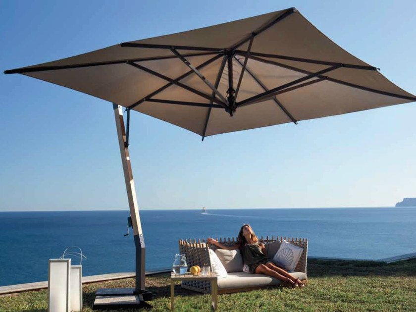 Offset wooden Garden umbrella CAPRI WOOD - FIM