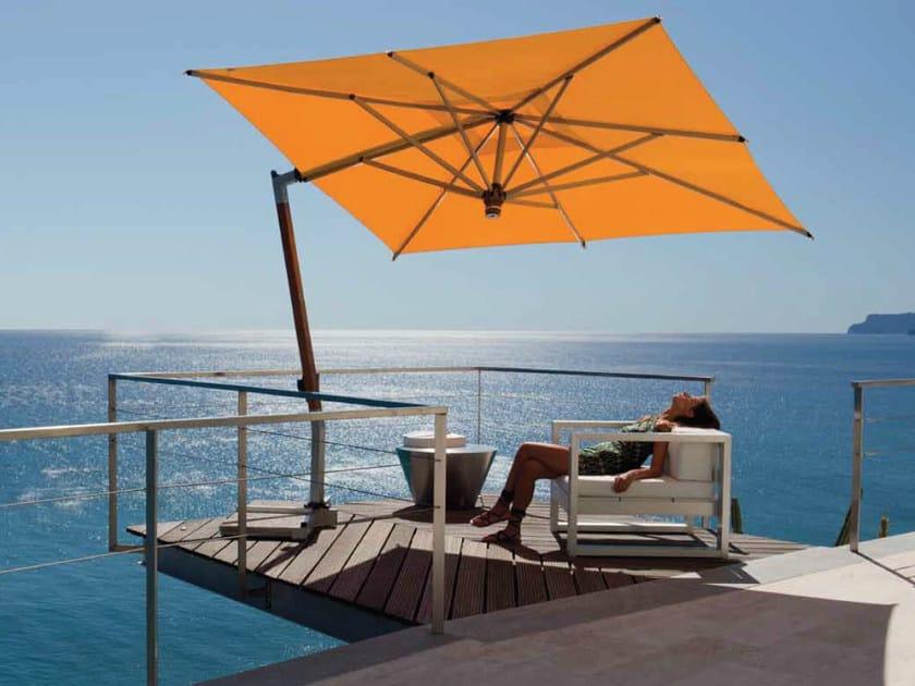 Offset teak Garden umbrella ISCHIA TEAK SILVER - FIM