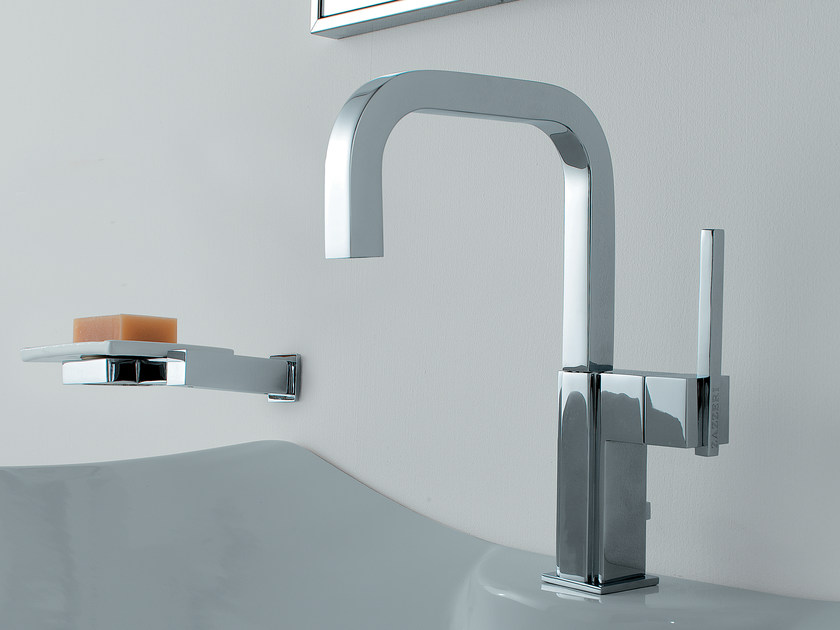 Countertop single handle washbasin mixer SOQQUADRO | Single handle washbasin mixer by ZAZZERI