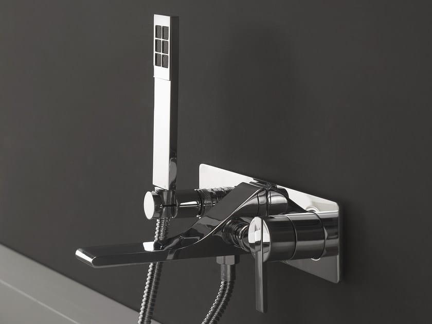 Wall-mounted single handle bathtub set with hand shower REM | Wall-mounted bathtub set - ZAZZERI
