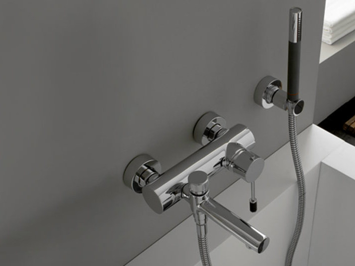 Wall-mounted bathtub mixer with hand shower MODO | Bathtub mixer - ZAZZERI