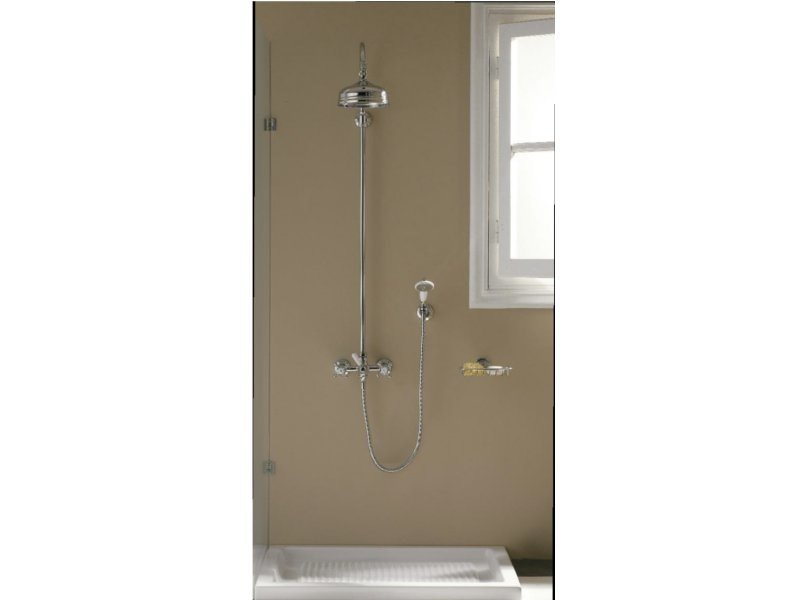 Wall-mounted shower panel with hand shower with overhead shower KENT | Shower panel by ZAZZERI