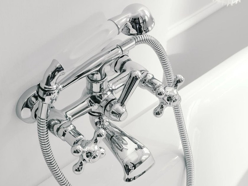 2 hole wall-mounted bathtub tap with hand shower 800 | Bathtub tap - ZAZZERI