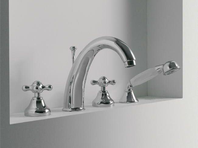 4 hole bathtub set with hand shower 800 | Bathtub set - ZAZZERI